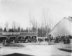 Meadowbrook teams and horse barn -  1911